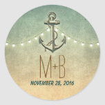 nautical anchor and wedding lights classic round sticker