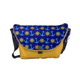 Nautical Anchor and Wheel Pattern On Navy Blue Small Messenger Bag