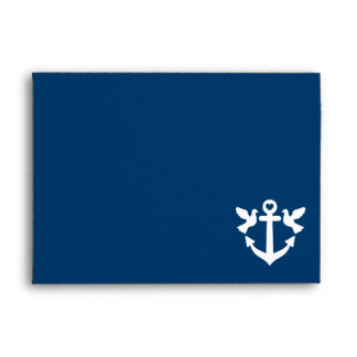 Nautical anchor and white doves wedding envelopes