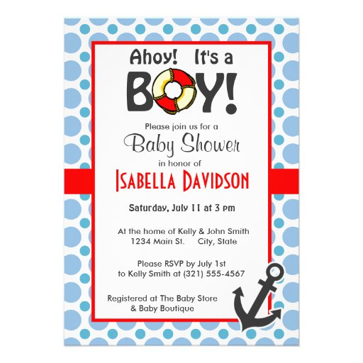 Nautical Anchor; Baby Blue Polka Dots Personalized Invites