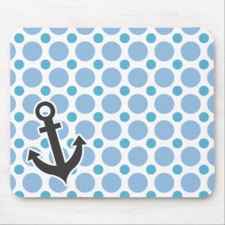 Nautical Anchor; Baby Blue Polka Dots Mouse Pad
