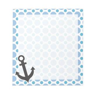 Nautical Anchor; Baby Blue Polka Dots Notepad
