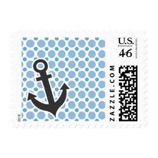Nautical Anchor Baby Blue Polka Dots Postage Stamp