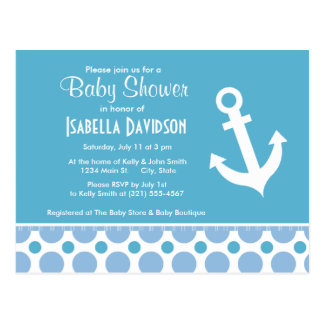 Nautical Anchor; Baby Blue Polka Dots Postcard
