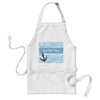 Nautical Anchor; Baby Blue Zebra Animal Print Adult Apron