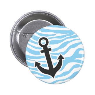Nautical Anchor Baby Blue Zebra Animal Print Button