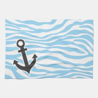 Nautical Anchor; Baby Blue Zebra Animal Print Kitchen Towels