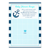 Nautical Anchor Baby Shower Bingo Cards