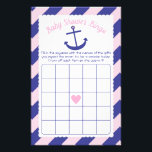 """Nautical Anchor Baby Shower Bingo Game pink &amp; navy Flyer<br><div class=""""desc"""">This design is in our &quot;Nautical Anchor&quot; baby shower theme in pink and navy blue. The collection of coordinating products is available in our shop, zazzle.com/doodlelulu*. Contact us if you need this design applied to a specific product to create your own unique matching item! Thank you so much for viewing...</div>"""