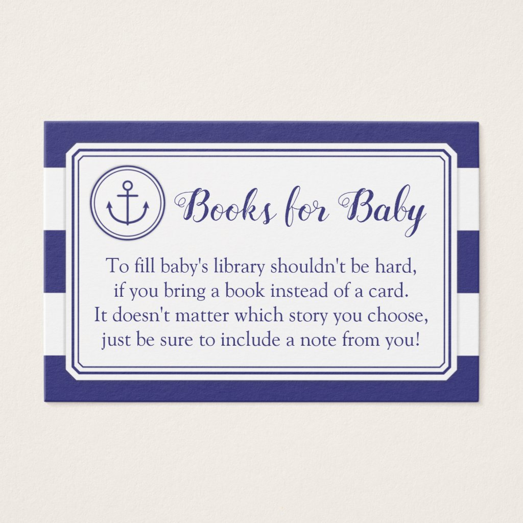 Nautical Anchor Baby Shower Book Request Card