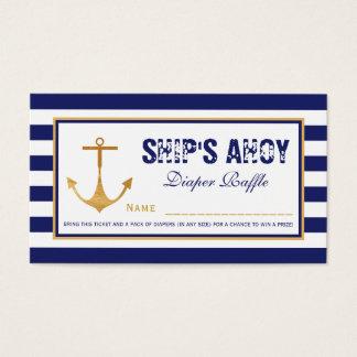 Nautical Anchor Baby Shower Diaper Raffle Ticket