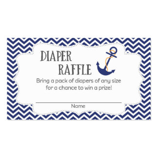 Nautical Anchor Baby Shower Diaper Raffle Tickets Double-Sided Standard Business Cards (Pack Of 100)