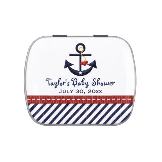 Nautical Anchor Baby Shower Favor Jelly Belly Candy Tin