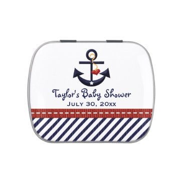 Beach Themed Nautical Anchor Baby Shower Favor Jelly Belly Tin