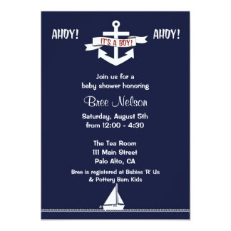 Nautical Anchor Baby Shower : Invitation