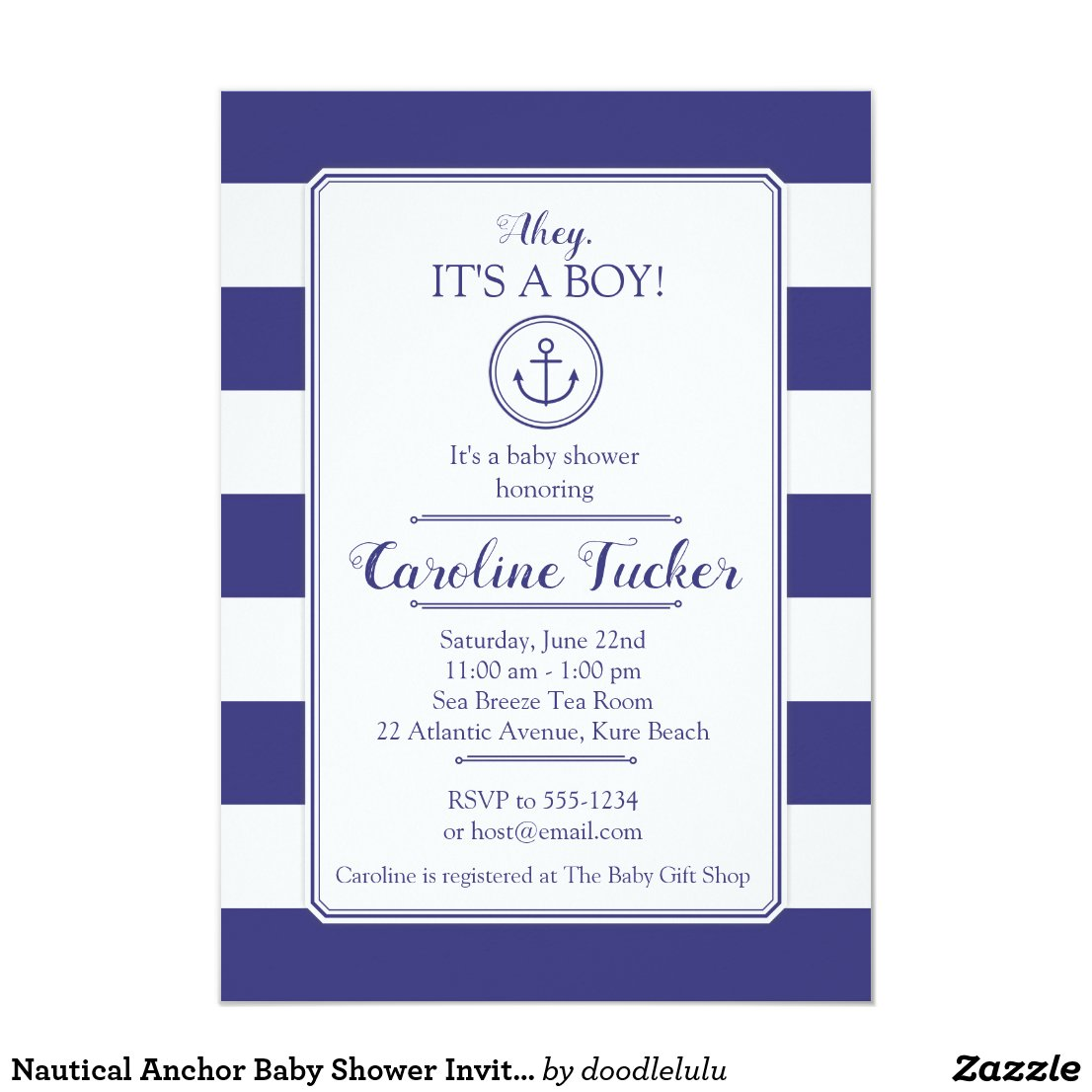 Nautical Anchor Baby Shower Invitation card