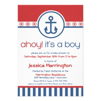 Nautical Anchor Baby Shower Invitations