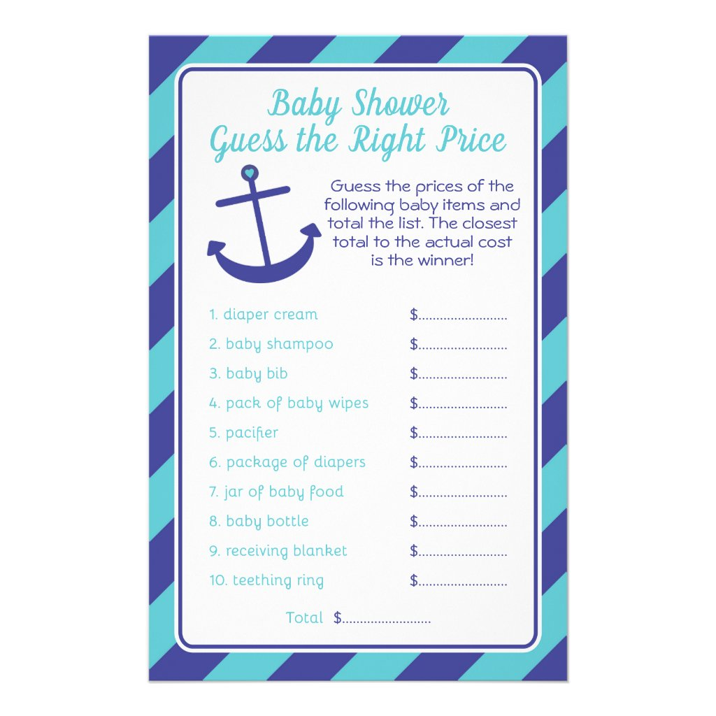 Nautical Anchor Baby Shower price game blue Flyer
