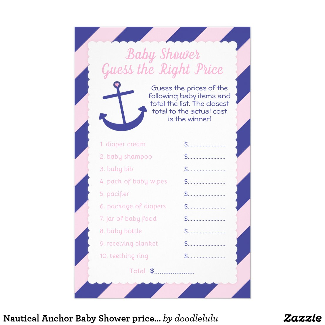 Nautical Anchor Baby Shower price Game pink & navy Flyer