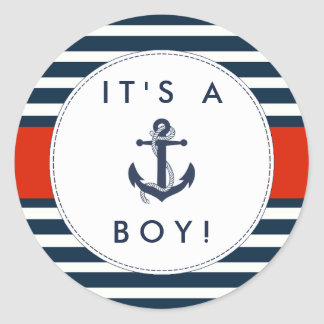Good Nautical Anchor Baby Shower Stickers   Itu0026#39 ...
