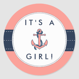 Nautical Anchor Baby Shower Stickers- It's A Girl! Classic Round Sticker