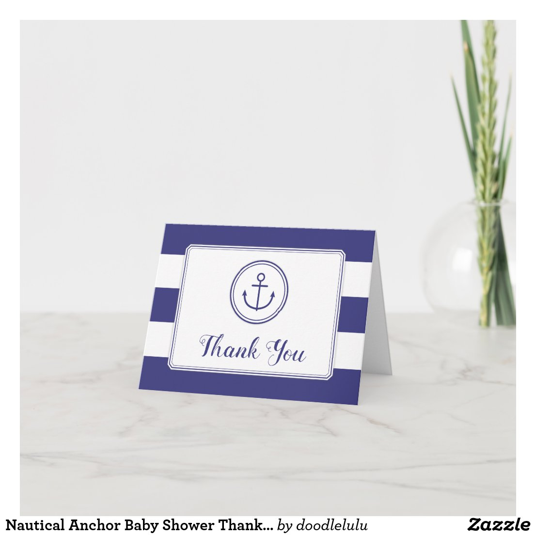Nautical Anchor Baby Shower Thank You - Navy White