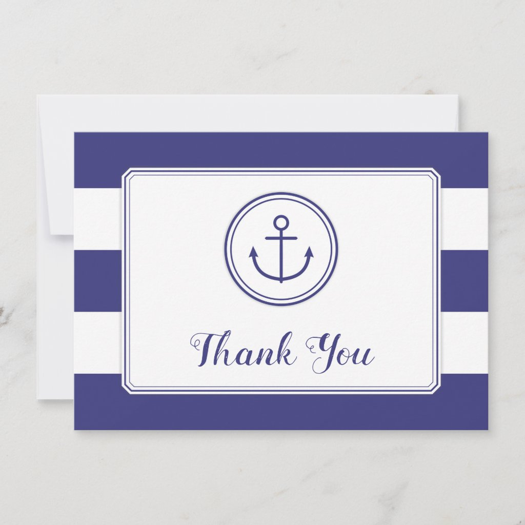 Nautical Anchor Baby Shower Thank You navy white