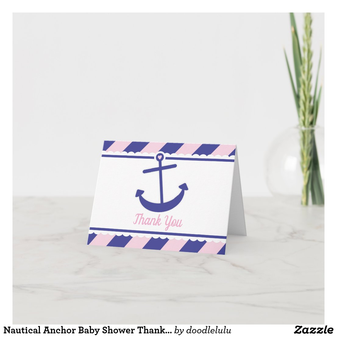 Nautical Anchor Baby Shower Thank You pink navy