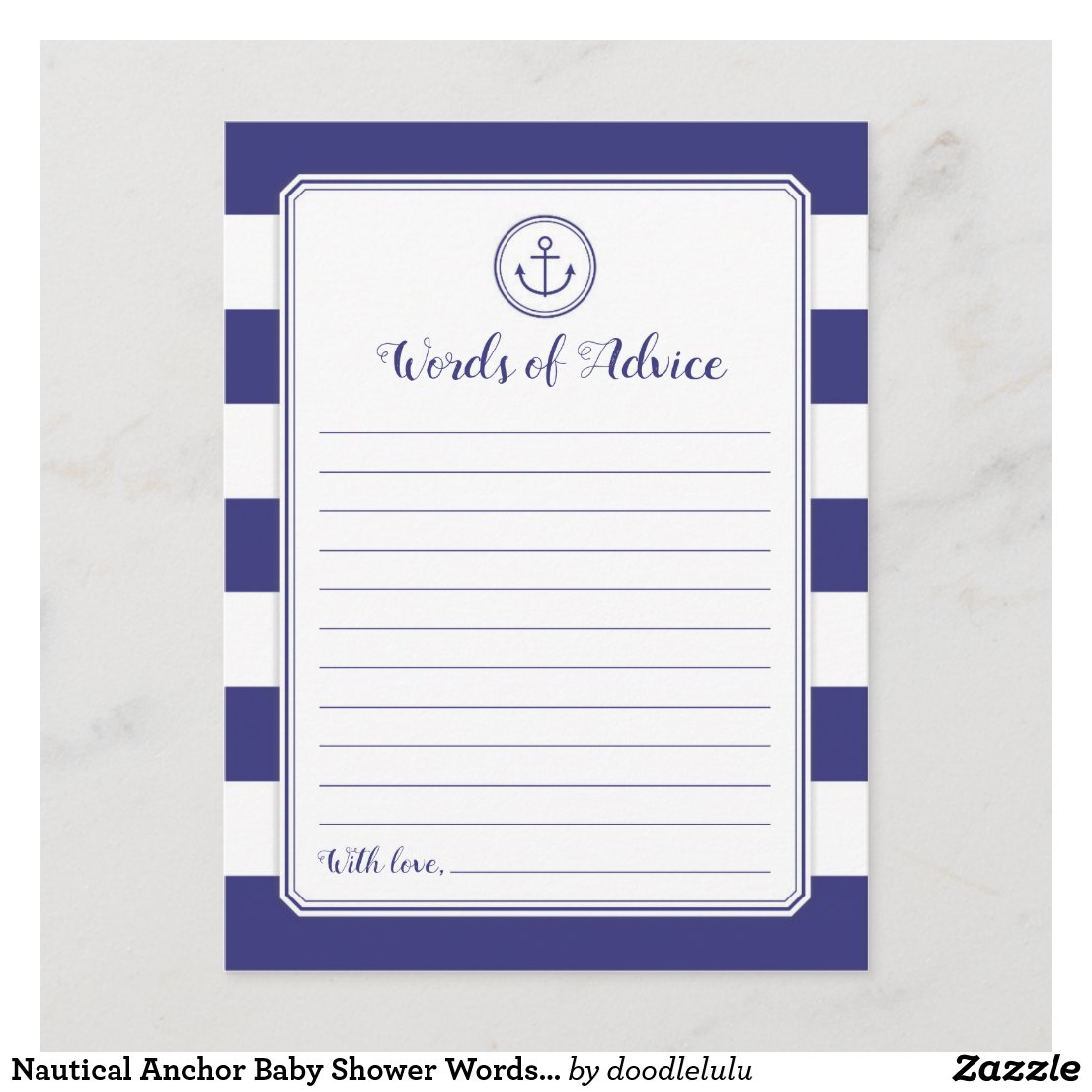 Nautical Anchor Baby Shower Words of Advice