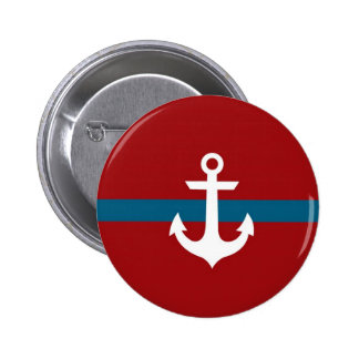 Nautical Anchor Badge Button - Navy Blue & Red