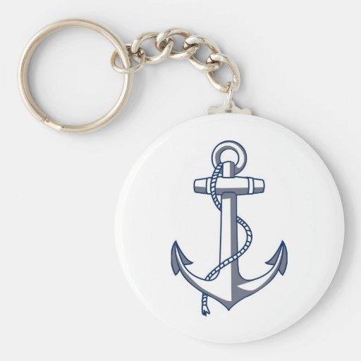 Nautical Anchor Basic Round Button Keychain
