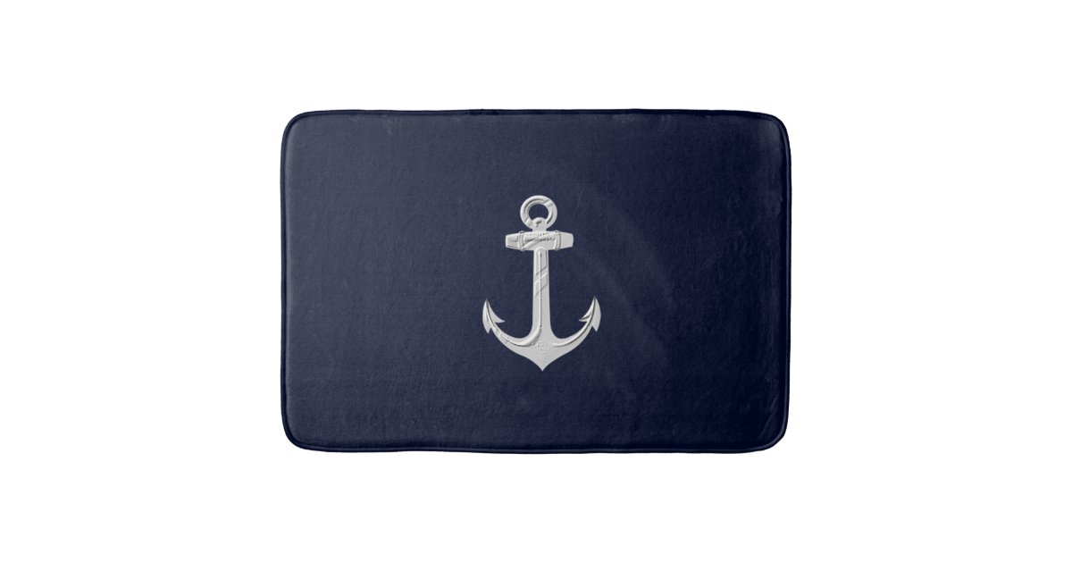 Nautical Anchor Bathroom Decor Bath Rug Bath Mat Zazzle Com