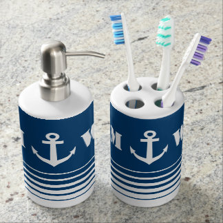 Nautical anchor bathroom set with custom monogram. Bath Sets   Zazzle