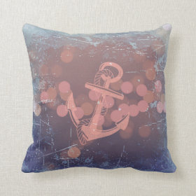 Nautical Anchor Beach Blue Coral Throw Pillow