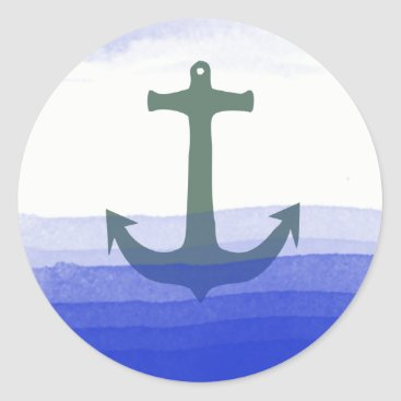 Beach Themed Nautical Anchor Beach Blue Teal Summer Watercolor Classic Round Sticker