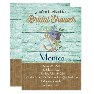 Beach Themed Nautical Anchor Beach Bridal Shower Invitation