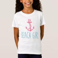 """Nautical Anchor """"Beach Girl"""" T-Shirt"""