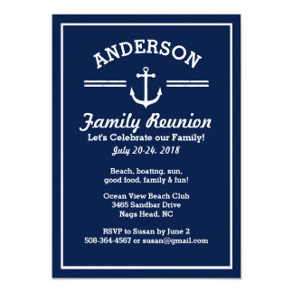 Nautical Anchor Beach House Family Reunion Trip Card