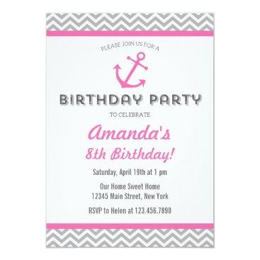 Beach Themed Nautical Anchor Birthday Invitation Pink