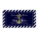 Nautical Anchor Blu Wht Diag Stripe H Water Bottle Shipping Label