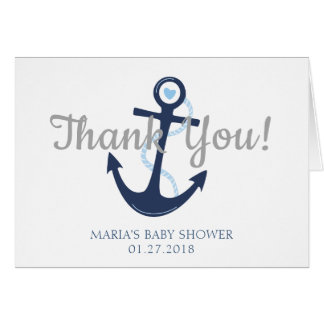 Nautical Anchor Blue Baby Shower Thank You Card