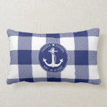 """Nautical Anchor Blue Buffalo Plaid Wedding Lumbar Pillow<br><div class=""""desc"""">The perfect gift for newlyweds this nautical themed pillow has a white anchor with a circular rope border with navy blue in the background. The bride's and groom's first names are above the anchor with a heart between the names in circular typography and the wedding date below for you to...</div>"""