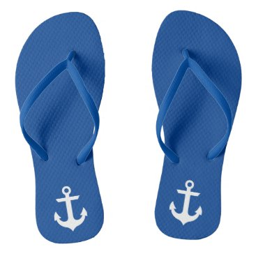 Beach Themed Nautical Anchor Blue Flip Flops