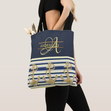 Beach Themed Nautical Anchor Blue Gold MONOGRAM Tote Bag