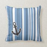 Nautical Anchor; Blue-Gray Stripes; Striped Pillows