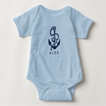 Nautical Anchor Blue Personalized Baby Bodysuit