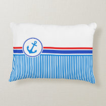 Nautical anchor blue red white stripes accent pillow