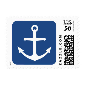 Nautical anchor, blue rounded square background postage