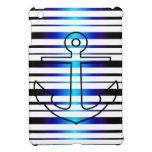 Nautical Anchor Blue Stripe Pattern iPad Mini Case