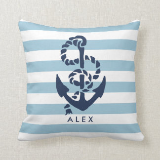Nautical Anchor & Blue Stripe Personalized Pillow